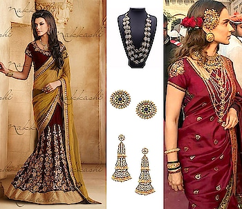 Get the celebrity inspired look for your wedding. Lehenga Saree-  https://vintagedesi.com/products/maroon-and-mustard-lehenga-saree Neckpiece- https://vintagedesi.com/collections/necklaces-alpha-desc/products/layered-necklace-with-white-stone Earrings- https://vintagedesi.com/collections/earrings-alpha-desc/products/oversized-pearl-studs Earrings 2 - https://vintagedesi.com/collections/earrings-alpha-desc/products/aysha-pearl-triad-earrings  #indianwedding #wedmegood #weddingseason #marriages #coupleshoot #weddingphotographer #weddingdress #like4like #follow4follow #follow #weddinginspiration #instawed #instapic #bride #indian_wedding_inspiration #junebugweddings #weddingsutra #weddedwonderland #wedphotoinspiration #drawing #illustration #illustrations #graphicdesign #poc #graphicdesigner #woc #nosepiercing #piercing #kangna #beauty *Celeb Image used for representation purpose only