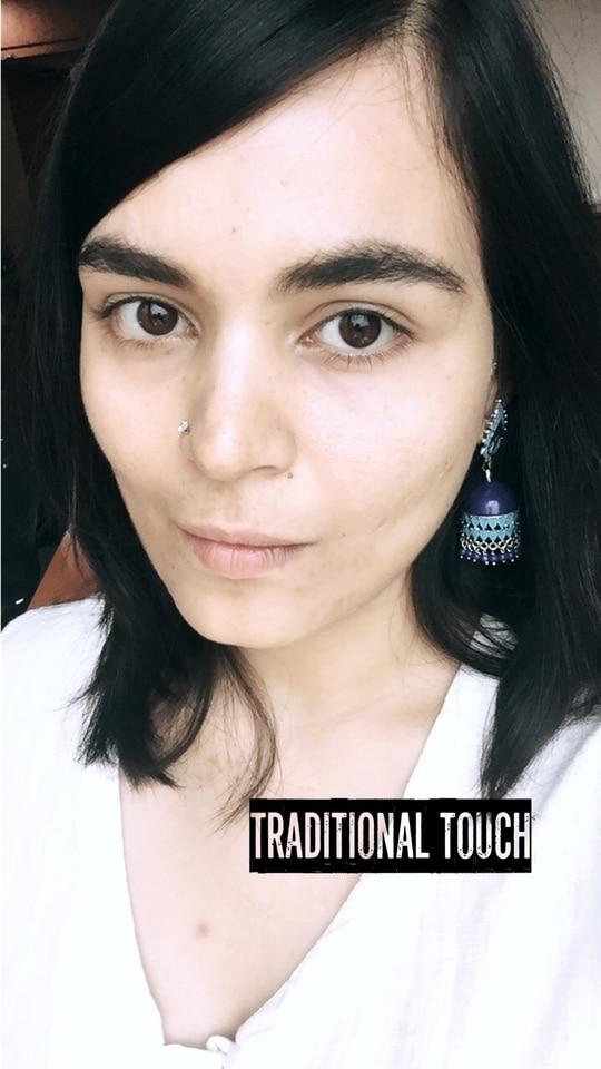 Traditional touch #soroposo #ethniclove #jhumkalove #khadisuit #officelook #yay