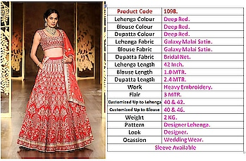 #NEW ARRIVAL IN STORE   #WEDDING WEAR DESIGNER  BRICTDAL LEHENGA  #Product Code: 1089/1090/1093/1095/1097/1098     #Lehenga Length: 42 inch.  #Blouse Length: 1.2 MTR.  #Dupatta Length: 2.4 MTR.  #Blouse Work: Heavy Embroidery.  #Flair: 3 MTR. # Customised up to Lehenga: 40 & 42.  #Customised up to Blouse: 40 & 46. # Weight: 2 KG. Look: Designer.  #All design Sam  #Price: 3799/-  #Note: Cash Payment  NO GST ??  • #Ready to Ship.. ???? •   #Shipping World Wide. ?? •   #Single Pic Available... ? •   #Reseller Most Welcome... ??
