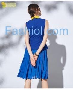 Contrast collar blue sleevless dress  https://www.fashiol.com/