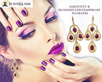 #Amethyst & #diamonds modern design long #danglers set in a #gold setting from #Endear - SHOP NOW - http://bit.ly/2GRbalz