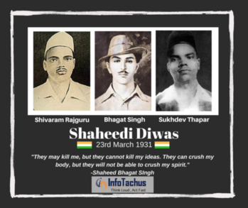 Individuals can be killed, but not their spirit. The spirit of Bhagat Singh, Rajguru and Sukhdev still continue to inspire us and evoke a sense of nationalism. Our heartfelt tributes to these courageous souls on their Martyrdom Day! #ShaheedDiwas #BhagatSingh #Sukhdev #Rajguru