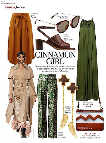 Military green maxi by #lolabysumanb , gold cross drop earrings by @shopeurumme & chevron vinyl purse by #cord featured in @feminaindia #March issue  #DIPublicRelations #Feature #happymondays