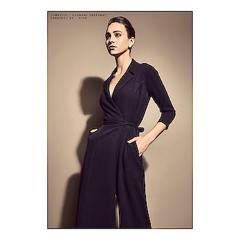 #eshaanijayaswal black wrap jumpsuit featured in #solsticemagazine #InHerElement  #DIPublicRelations #Webitorial #Featured