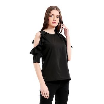 #girlsshopping #Crepe #black #coldshoulder #ruffled Sleeves Top For #top  SELLING PRICE- 455/- LINK- https://bit.ly/2uQyZI8   This #Westernwear #Top is made for the #modern #woman who embraces #fashion and #comfort.#offshoulder #trendy #todaysspecial #latestfashion #Ruffledsleeves #bellsleeves