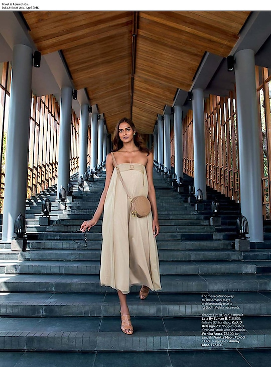 #lolabysumanb beige jumpsuit & #varnikaarora orchard earrings featured in #travelleisure #April issue  #DIPublicRelations #features