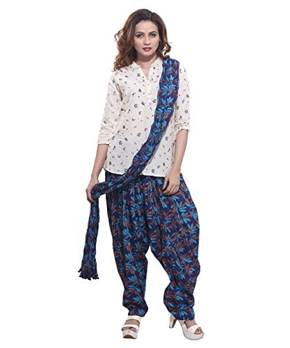 Jublee Women Printed Blue Cotton #Patiala with #Dupatta @ Rs.599.Buy Now at http://bit.ly/2Ha3I5h