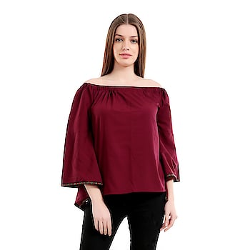 #girlsshopping #crepe #maroon #offshoulder #bellsleeves #top For #Girls/Women SELLING PRICE- 455/- LINK - https://bit.ly/2GAiw0b  This #Westernwear #Top is made for the #modern #woman who embraces #fashion and #comfort.#offshoulder #trendy #todaysspecial #latestfashion