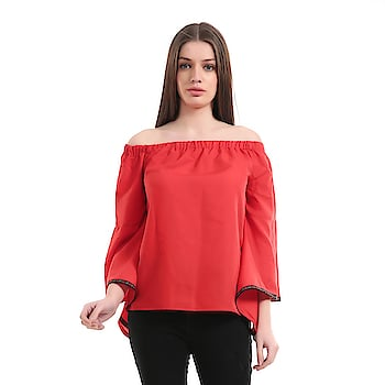 #girlsshopping #crepe #red #offshoulder #bellsleeves #top For #Girls/Women SELLING PRICE- 455/- LINK - https://bit.ly/2q92obu  This #Westernwear #Top is made for the #modern #woman who embraces #fashion and #comfort.#offshoulder #trendy #todaysspecial #latest_fashion