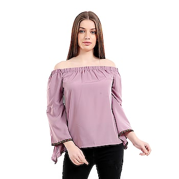 #girlsshopping #crepe #lightpurple #offshoulder #bellsleeves #top For #Girls/Women SELLING PRICE- 455/- LINK- https://bit.ly/2Elhsap  This #Westernwear #Top is made for the #modern #woman who embraces #fashion and #comfort.#offshoulder #trendy #todaysspecial #latestfashion