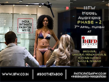 Let us see YOU tomorrow,  because India Intimate Fashion Week is conducting its Model Audition Phase-2 on 7th April!  So don't miss this opportunity, all the budding models as you'll get to be a part of the IIFW Season 2 Show!  Audition registrations will be from 10 AM to 1 PM only. There is no fee for audition registrations. Both Indian & International Models are welcome.  Modeling / Talent Mgmt Agencies can also apply. Minimum Height Requirement: - Strictly 5 feet 7 inches and above Venue : INIFD, MET Campus, 7th Floor, Next to Lilavati Hospital, Bandra. Contact for further details : Anjali : +919028076361 / +918551026503 / iifw2016@gmail.com #IIFW #ModelAuditions #IndiaIntimateFashionWeeks #MUmbai #Models #Lingerie #BeachWear #BIkiniModels