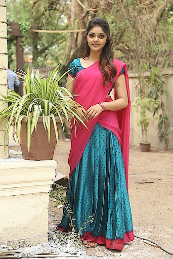 Aishwarya Gorak stills in half saree at Sai Dharam Tej-Karunakaran Film Press Meet. http://www.southindianactress.co.in/featured/aishwarya-gorak-half-saree/  #aishwaryagorak #rahasyagorak #halfsaree #sotuhindianactress #southindianfashion #southindianstyle #half-saree #pinksaree #pinkdress #pinkove #pinkdress #saree #sari #indianmodel #indianactress #indiangirl #tollywood #tollywoodactress #actress #teluguactress #fashion #style