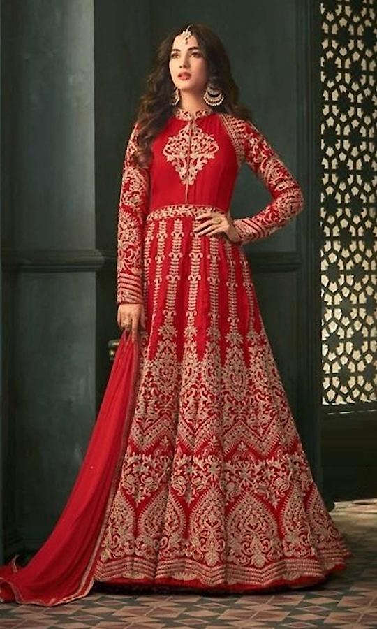 Red Heavy Party wear Suit  • Designer Salwar Kameez Party wear Suit with Stone Work • Fabric : Silk • Dupatta Fabric :Chiffon • Inner/Bottom Fabric : Shantoon • Size : Semi-Stitched (customizable Upto size-44)  SKU: SUEJDSMS5302 Rs. 6,290 #designer #salwarkameez #partywear #suit  #anarkalisuit #anarkali  #longanarkali  #wedding-suits-designer #wedding #wedding-outfits #wedding #wedding-bride #wedding-dress