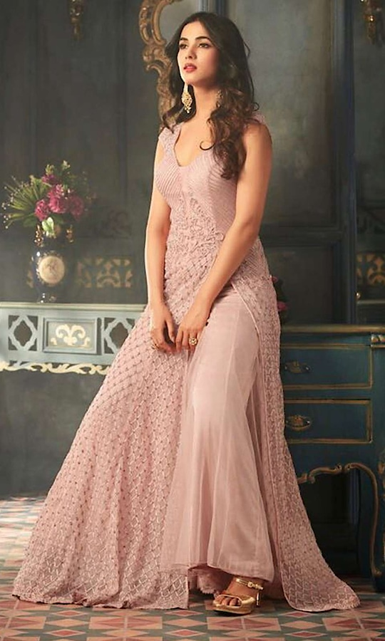 Baby Pink Heavy Floor Length Embroidered Suit  • Designer Salwar Kameez Party wear Suit with Stone Work • Fabric : Net • Dupatta Fabric :Chiffon • Inner/Bottom Fabric : Satin • Size : Semi-Stitched (customizable Upto size-44)  SKU: SUEJDSMS5301 Rs. 6,790  #designer #salwarkameez #partywear #suit  #anarkalisuit #anarkali  #longanarkali  #wedding-suits-designer #wedding #wedding-outfits #wedding #wedding-bride #wedding-dress