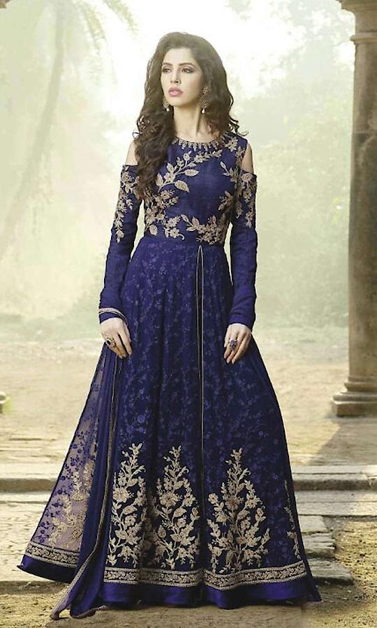 Blue Designer Anarkali Suit  • Designer Salwar Kameez Party wear Suit • Fabric : Georgette • Dupatta Fabric : Chiffon • Inner/Bottom Fabric : Shantoon • Size : Semi-Stitched (customizable Upto size-44)  SKU: SUENMBE1609 Rs. 5,690  #designer #salwarkameez #partywear #suit  #straightsuits #straightsuit #wedding-suits-designer #wedding #wedding-outfits #wedding #wedding-bride #wedding-dress