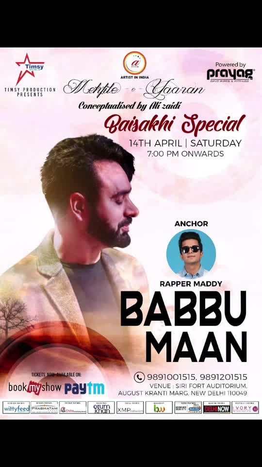 Never thought would hear him live and from this close #Babbumaan ji . Feeling blessed to be a part of this one 14 April 2018 .Dont forget to join me on this massive event .  Babbu maan ji live on 14 April at siri fort auditorium New Delhi .India  #rappermaddy #babbumaan #delhi #sirifort #auditorium #live #event #punjabi #music #swag #follow #amazing #celebrate #love #pray #God #actor #singer #rappers #paulentertainment