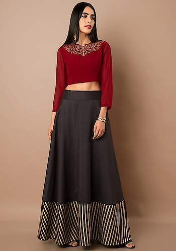 We've Got Tops For Your Every Mood!   SHOP Georgette Crop Top - https://goo.gl/QEKLLG  Maroon Back Slit Georgette Crop Top ₹ 1700  @Indya  #women-clothing #roposo #fashion-addict #party-edit #party #party-wear #clothes #Fashion #loveyourself #Crop-Top #Georgette #beauty #styles #love #followme #like #fashion #Maroon  #celebration #trending #roposogal #wow #roposolove #Summer #Wedding #BackSlit #Indya #traditionaldress #ethnic #Indo-Western