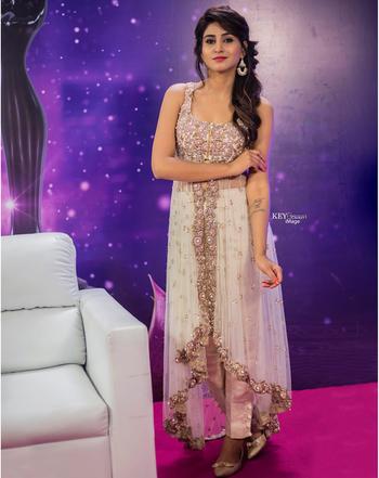 Varshini Sounderajan at Zee Telugu Apsara Awards 2018 wearing anarkali lacha desinged by Ashwini Reddy. #varshinisounderajan #southindianactress  #ashwinireddy #look2 #lfw #AR #couture #indian #hyderabad #fashion #madewithlove #zeeapsaraawards #tollywood #boldbeauty #ivory #laacha #anarkali #musthave #actress #host #summerfashion #fashionable #daywear #eveningwear #indianfashion #indiandress #indianstyle #style #styles #indian #indiandesign #indiandesigner #filmistaan #topnotch