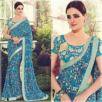 Monday Blooms ! Shop this Stunning Party Wear #Blue Saree at super exciting price only @ https://goo.gl/ZSy9Dt #beauty #bollywood #hollywood #indiansaree #crepe #crepesaree