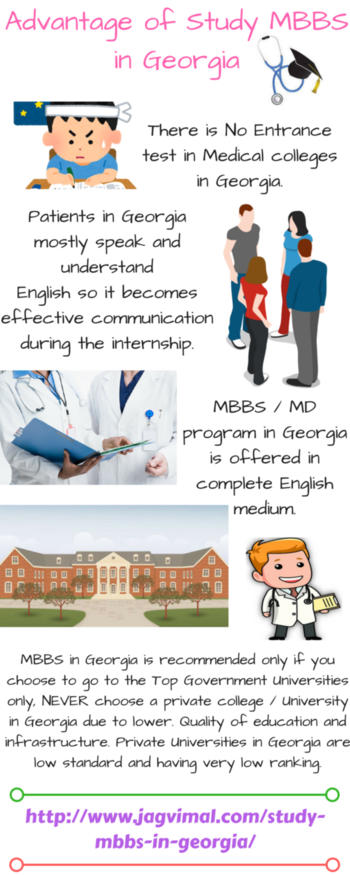 Advantage of Study MBBS in Georgia There are many Medical colleges in Georgia for Indian students. Georgia is one of the popular destinations for medical education in abroad. MBBS Universities in Georgia has achieved under 1350th rank amongst the best MBBS Universities in all over the world:- https://goo.gl/BPYzgR #studymbbsingeorgia #medicalcollegesingeorgiaforindianstudents #mbbsingeorgiaforindianstudents #mbbsingeorgia #mbbsadmissioningeorgia #medicaluniversitiesingeorgia #georgiamedicalcollege #medicaladmissioningeorgia