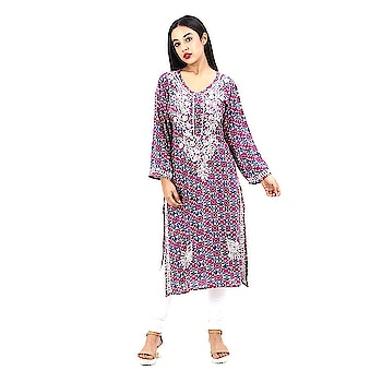 Lucknow Chikankari Embroidered Rayon kurta For Women  Don't miss this super, amazing, stunning and stylish This Women Kurta, Made of premium quality fabric, this Kurta is highly comfortable and a perfect pick of the Fetival season.  Buy Link- https://www.amazon.in/dp/B07C5MP7V1  #kurti #embroidered