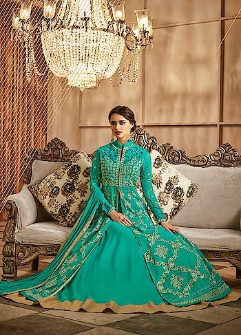 New Style! Lovely #seagreen Lehenga Style Anarkai Dress is available @ https://goo.gl/Mg4RLL #newarrivals #indianwedding #weddingfashion