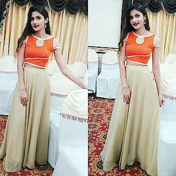 Selfstichd and designd..orange velvet blouse with golden shimmery skirt.#traditional #wedding #outfit