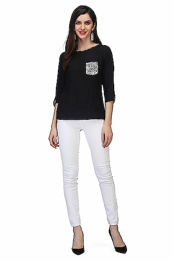 Printemps 100% Viscose Top for women  MATERIAL: 100% Viscose Pattern: Solid-Colour:Black Occasion: Casual, Party, Festival & Wedding wear Fit Type:Regular Fit-Sleeve:3/4 Sleeves Wash Care: Hand Wash Cold water Only Gentle Wash in Washingmachine Line dry Warm Iron Do not bleach  Buy Now:- https://amzn.to/2FYfq4Z