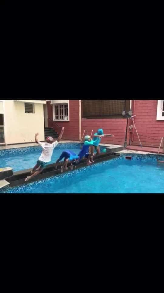 Swim fun time #friends#water#fun