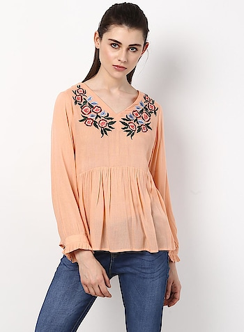 Monte Carlo - Peach Embroidered V Neck Top - https://bit.ly/2Hl5TGr  #monteCarlo #MontecarloSS18 #Roposodiaries #VNeckTop #EmbroideredTop #Roposo #SummerCollection2018 #PeachTop #WomenFashion #Femina