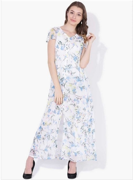 Lakshita Online - Royal Blue Long Print Dress  https://bit.ly/2HTihul  #LakshitaOnline #Lakshita #summercollection18 #Roposo #Roposodiaries #Printdress #Plazzo #Suits #Womenfashion #Fashion