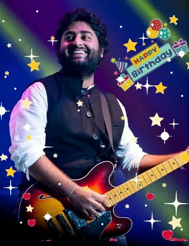 😍😍best ever arijit singh...🎂🎂happy birthday....to uhhh...😉🎂 #happybirthday #glitter #hearts #stars