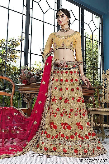We present our Latest Bridal Lehenga Choli Collection..  http://www.sringaar.com/buy/buy-wedding-lehengas-online.aspx  Product : RK2729 http://sringaar.com/SearchProduct.aspx?q=rk2729  #Sringaar #SringaarFashion WE DELIVER WORLDWIDE  WhatsApp No : +91-9971331899  Contact us : +91-9212337921  Email ID : sales@sringaar.com  Visit Us at : http://www.sringaar.com  Facebook : https://www.facebook.com/SringaarOnline  Instagram : https://www.instagram.com/sringaarfashion  Fabric of Lehenga - Net Fabric of Inner of Lehenga - Sattin Fabric of Dupatta - Net Fabric of Choli - Bangalori Silk Size Available - Bust Size: 44 Inch;  Lehenga Waist: 38-40 Inch;  Lehenga Length: 45-48 Inch Work - Embroidery Work