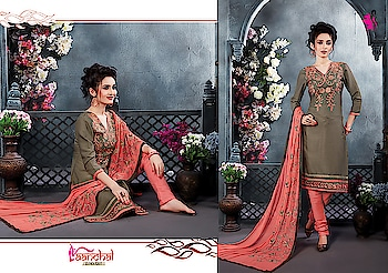 Evoke a sense of classic beauty with this grey embroidered work suit paired with pink churidar & designer dupatta.