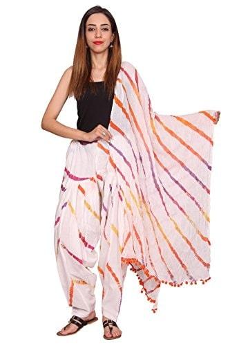 Rama White Color Lehariya Print Cotton Full Printed #Patiala #Dupatta Set @ Rs.589. Buy Now at http://bit.ly/2whJZ1R