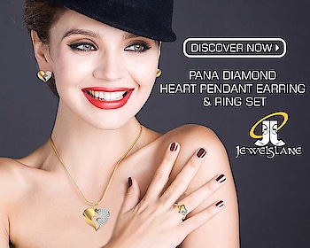 Pana #diamond_heart_pendant, #earrings #ring set in #hallmarked #14k_gold studded with 74 round brilliant cut certified #diamonds in a modern #two_tone_heart_design best gift for your valentine - SHOP NOW - http://bit.ly/2FXEYeA