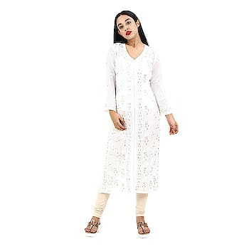 Women's Hand Embroidered Beautiful Lucknow Chikan Cotton Kurti Kurta. Make your sensual diva style by draping this stunning and comfortable Party wear Kurti. This Elegant designer Kurti's Hand Woven is a perfect fit for all parties, dream Reception, playful Sangeet, engagement, Mehendi & occasions where you want to show your appearance.  https://www.amazon.in/dp/B07CB451QM  #kurti #kurta #womenkurta #ladykurta #glamerouskurti #trendykurti