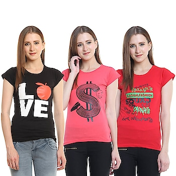 Diaz® Cotton Printed Round Neck Top For Women Pack Of 3  Color: Black, Carrot, Red Fabric: 100% Cotton Washing Instructions: Hand Wash In Cold Water Neck: Round Neck Sleeve: Short Sleeve  #women #kids #clothing #stylish #designer #printed #casual #gymwear #summerwear #comfortable #top #legging #tshirt   Buy Now:- https://amzn.to/2Kcyr1O