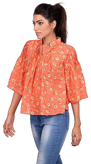 Flowers bloom and bright colours reverberate through our vision upon Spring's arrival, but hey you should definitely not let the heat dampen your Spring Spirit. We have this beautiful bright top with neat pin tuck detailing and bell sleeves to give you that airy cool feeling. Smile wide, Shine bright.  #pintuck #floralprint #aline  #women-fashion #women-branded-shopping #women-style #women-apparels #womensweardaily #casual-clothing #casual-wear #stylishcasuals #ss18 #springsummer2018 #women clothing #fashiondesigner #fashionblogger #be-fashionable #chattobuy #staytuned #stayupdated