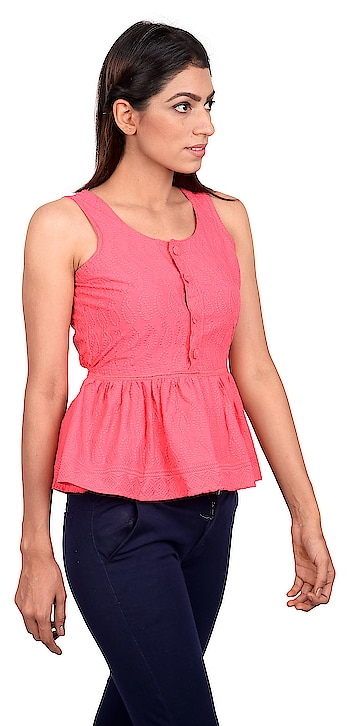 Embroidery is traditional, but we know you don't like to follow convention. Beautiful pink sleeveless top with gathers all round. Beat the heat with this one.  #embroideredfabrics #women #women-fashion #women-branded-shopping #women-style #women-clothing #women-apparels #womensweardaily #stylishcasuals #casualwear #casualwearfashion #casuals #westernwear #casual-clothing #westerncasual #ss18collection #springsummer2018 #summer-style #summers #staytuned #stayupdated