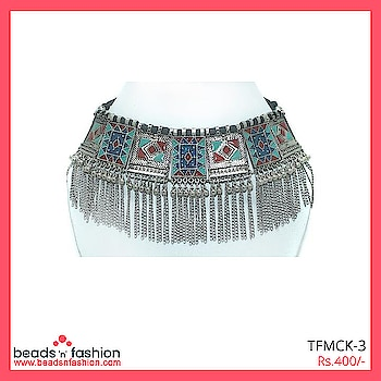 Silver Tribal Afghani Choker Necklace #beadsnfashion #afghanijewellery #germansilver #oxidisedsilver #afghanijewelry #necklace ##multicolornecklace #realafghanjewellery #fashionjewellery #designerjewellery #jewellerydesigner #afghanichoker #choker #indiajewellery #neckpiece  Buy This  https://bit.ly/2rdmgtW For 400/-