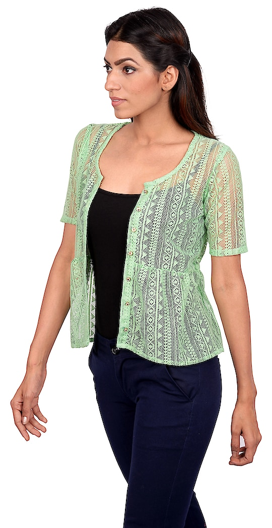 A shrug to couple to provide that extra touch up to your daily get up. The laced fabric and curvy gathered design concept helps you set out without worrying about the summer sun. Enjoy the evening breeze while taking a walk. This pista green colour will make you look refreshing.   #women #women-fashion #women-branded-shopping #women-style #women-clothing #womensweardaily #womenity #casual #styliing #stylishcasuals #casual-clothing #casualwearfashion #shrug #shrugglove #trendy shrugs #summersale #summershine #styles #springsummer18 #fashiondesigner #fashionblogger #mumbailifestyleblogger #chattobuy #ss18