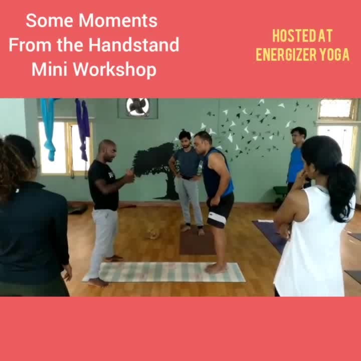 Handstand Mini Workshop hosted at Energizer Yoga Hyderabad on Tuesday Morning. . . . . . #yoga  #yogaworkshop #yogafitness #yogastrong #yoga4roposo #yogateacher #yogainspiration #yogainstructor