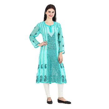 Women's green Hand Embroidered Beautiful Lucknow Chikan Georgette Kurti Kurta. Pair them up with a range of Salwars, Chudidars, Pallazos, Skirts or even Jeans to complete the look.  https://www.amazon.in/dp/B07D2LLSXR  #kurti #womenkurti #lightkurti #summerkurti #ladykurti