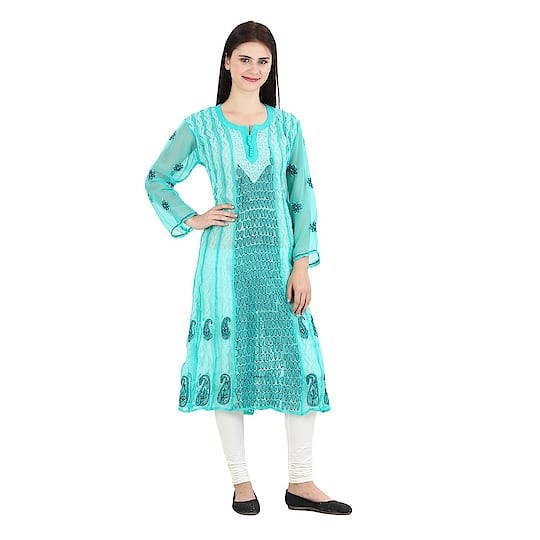 Women's green Hand Embroidered Beautiful Lucknow Chikan Georgette Kurti Kurta. Pair them up with a range of Salwars, Chudidars, Pallazos, Skirts or even Jeans to complete the look.  https://www.amazon.in/dp/B07D2LLSXR  #kurti #womenkurti #lightkurti #summerkurti #ladykurti