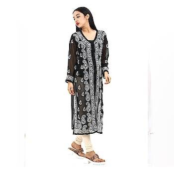 Women's black Hand Embroidered Beautiful Lucknow Chikan Georgette Kurti Kurta. Pair them up with a range of Salwars, Chudidars, Pallazos, Skirts or even Jeans to complete the look.  https://www.amazon.in/dp/B07D2KJYDT  #kurti #womenkurti #lightkurti #summerkurti #ladykurti