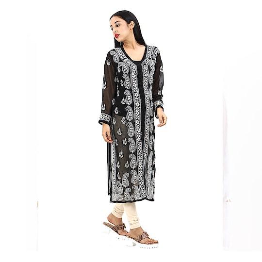 Women's black Hand Embroidered Beautiful Lucknow Chikan Georgette Kurti Kurta. Pair them up with a range of Salwars, Chudidars, Pallazos, Skirts or even Jeans to complete the look.  https://www.amazon.in/dp/B07D2KJYDT  #kurti #womenkurti #lightkurti #summerkurti #ladykurti