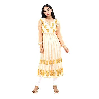 Women's Hand Embroidered Beautiful Lucknow Chikan Georgette Kurti Kurta. Pair them up with a range of Salwars, Chudidars, Pallazos, Skirts or even Jeans to complete the look.  https://www.amazon.in/dp/B07CCGF792  #kurti #womenkurti #lightkurti #summerkurti #ladykurti