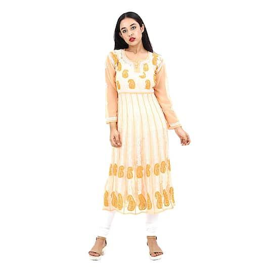 Women's Hand Embroidered Beautiful Lucknow Chikan Georgette Kurti Kurta. Pair them up with a range of Salwars, Chudidars, Pallazos, Skirts or even Jeans to complete the look.  https://www.amazon.in/dp/B07CCGF792  #kurti #womenkurti #lightkurti #summerkurti #ladykurti