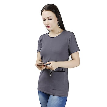 Fonewear Women's Casual T-shirt  Phone pocket containing twin compartment inner pocket. Welt-concealed black nylon secure zip closure. Pocket constructed of high level radiation resistant fabric. Inner cable eyelet.  Buy Link- https://www.amazon.in/dp/B075NG7C7N  #tshirt #casualtshirt